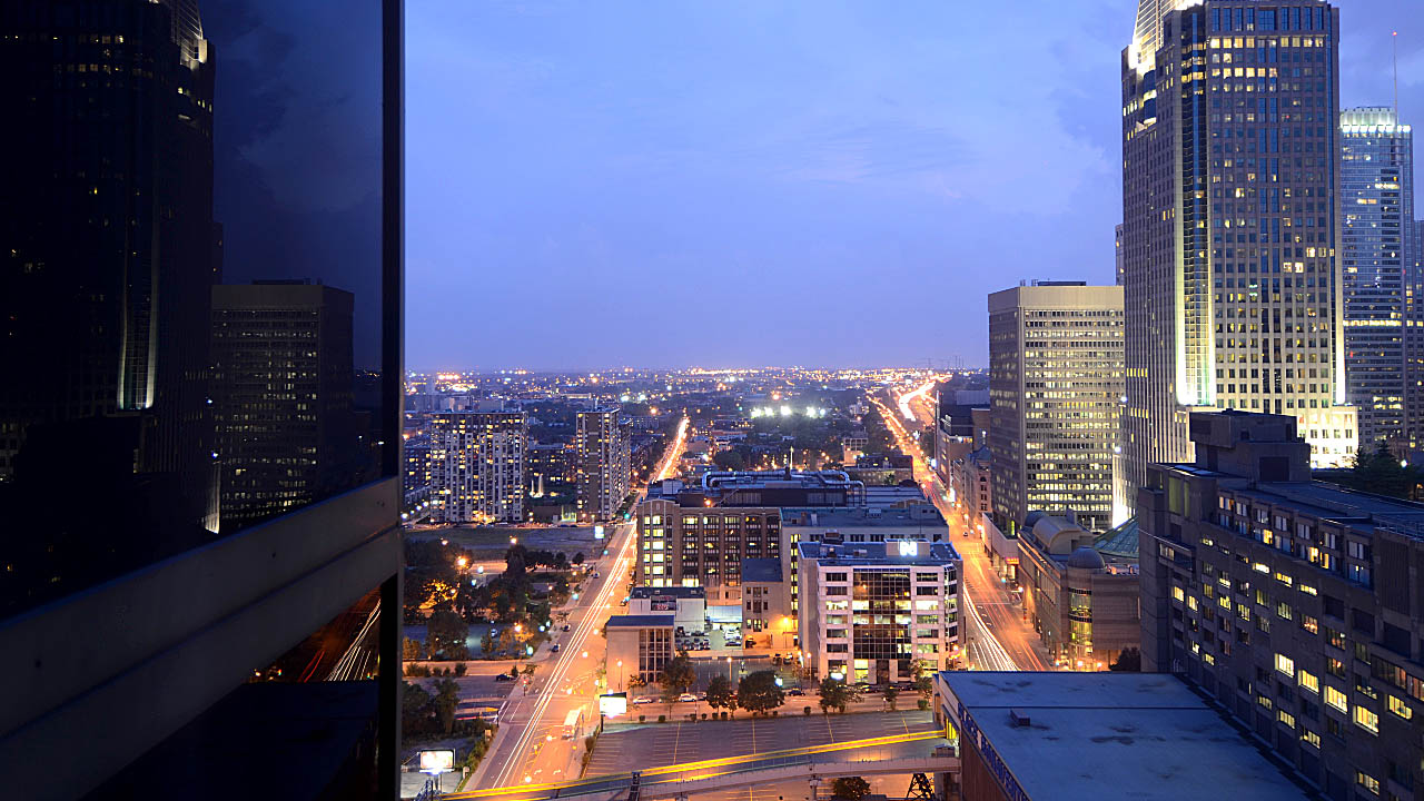 Amazing view from the 21st floor of the Delta Hotel in downtown Montreal Canada. A frame grab photograph from the time lapse video called Nikon D750 Time Lapse - View from our Montreal Hotel Room posted here https://www.youtube.com/watch?v=6ssnxw-Dsto